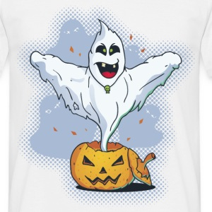 Scary Halloween Ghost with Pumpkin T-Shirts - Men's T-Shirt