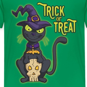 Halloween Black Witch Cat Trick or Treat Shirts - Kids' Premium T-Shirt