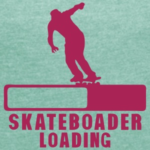 skateboarder loading progress bar 2 T-Shirts - Women's T-shirt with rolled up sleeves