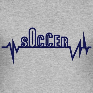 soccer trace curve heart word beat T-Shirts - Men's Slim Fit T-Shirt