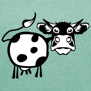 cow drawing 1301 T-Shirts - Women's T-shirt with rolled up sleeves