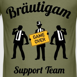 Bräutigam Game Over Support Team (JGA / 3C) T-Shirts - Männer Slim Fit T-Shirt