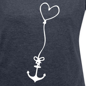 Anchor with heart on rope T-Shirts - Women's T-shirt with rolled up sleeves