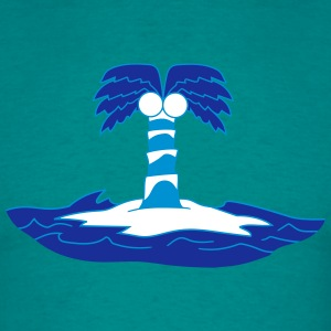 island holiday palm lonely blue coconut sea water  T-Shirts - Men's T-Shirt