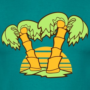 2 palm trees comic cartoon coconuts sun sunset sun T-Shirts - Men's T-Shirt