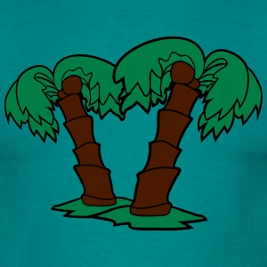 2 palm trees comic cartoon coconuts T-Shirts - Men's T-Shirt