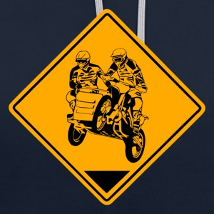 Sidecar MotoCross Road Sign Sweaters - Contrast hoodie