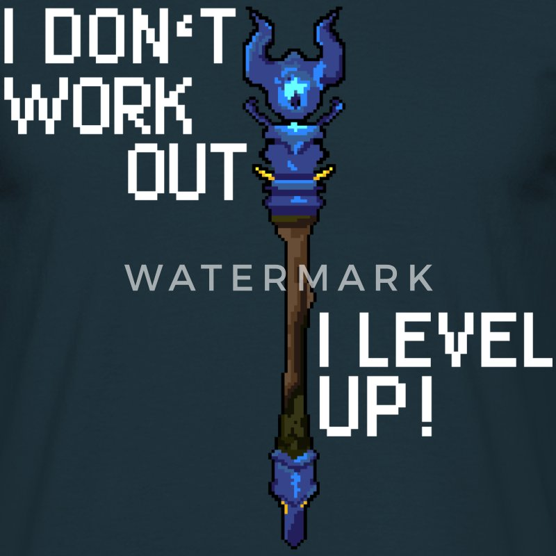 Marineblå I don't workout I level up! T-shirts - Herre-T-shirt