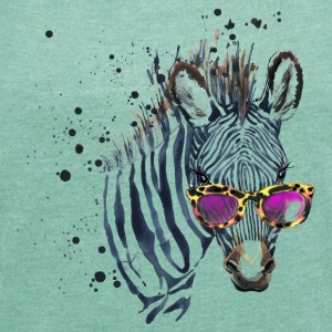 Animal Planet Zebra with sunglasses Women T-Shirt - Women's T-shirt with rolled up sleeves