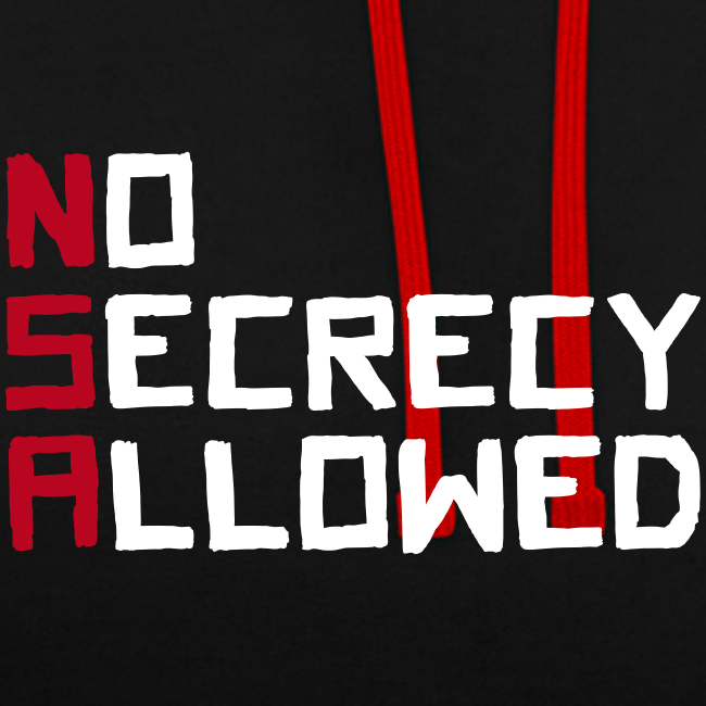 NSA - No Secrecy Allowed  Kontrast-Hoodie