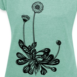 Daisy, spring, summer flower, garden, peace, vegan T-Shirts - Women's T-shirt with rolled up sleeves
