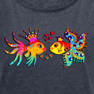 FISH IN LOVE, Bubbles, Sea, Ocean, Holiday, Surf T - Frauen T-Shirt mit gerollten Ärmeln