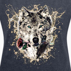 Wolf with Rose, Love Symbol, Wolves, Nature T-Shirts
