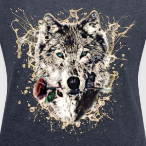 Wolf with Rose, Love Symbol, Wolves, Nature T-shirts - Vrouwen T-shirt met opgerolde mouwen