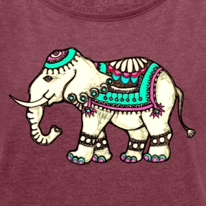 Indian Elephant, Nature, Africa, Animal, Wild, Art T-Shirts - Women's T-shirt with rolled up sleeves
