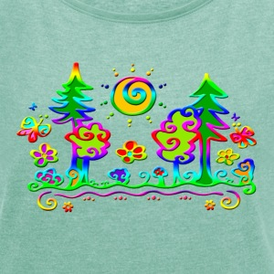 Forest Sun Tree Vacations Hiking Nature Summer Sky Tee shirts - T-shirt Femme à manches retroussées