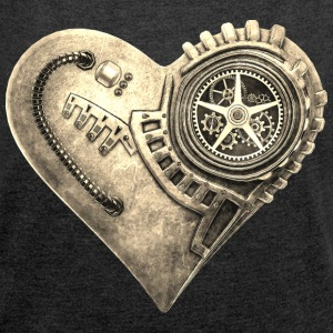 Steampunk Clockwork Heart #1B T-Shirts - Women's T-shirt with rolled up sleeves