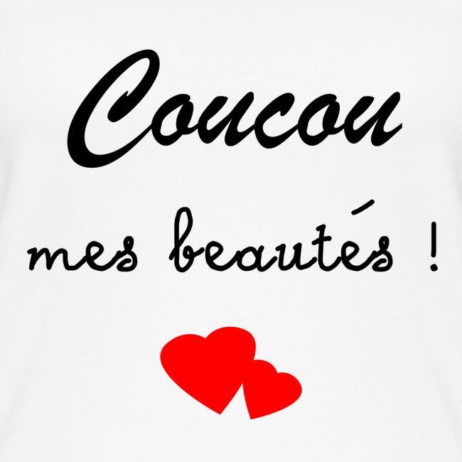 """Débardeur Femme blanc """"Coucou mes beautés !"""""""