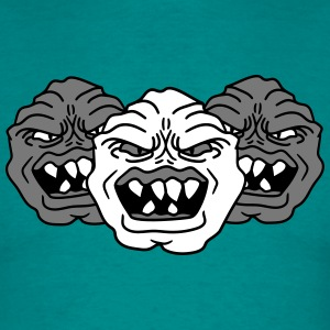 3 monster heads faces angry grimace horror hallowe T-Shirts - Men's T-Shirt