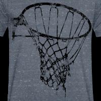 Zoom: Männer T-Shirt mit V-Ausschnitt mit Motiv Basketball Korb Netz (used look)