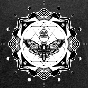 Heather Black tattoo mandala T-Shirts - Women's T-shirt with rolled up sleeves