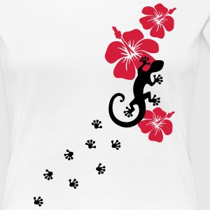 Gecko, Lizard, flower, surf, aloha, sports, wave,  - Women's Premium T-Shirt