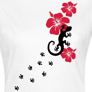 Gecko, Lizard, flower, surf, aloha, sports, wave,  - Women's T-Shirt