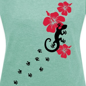 Gecko, Lizard, flower, surf, aloha, sports, wave,  T-Shirts - Women's T-shirt with rolled up sleeves