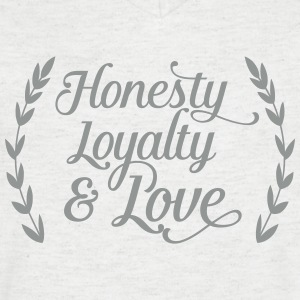 honesty loyalty and love Tee shirts - T-shirt Homme col V