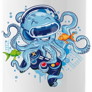 Octopus with gamepad and VR goggles Mugs & Drinkware - Water Bottle