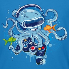 Octopus with gamepad and VR goggles T-Shirts