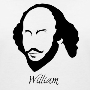 William Shakespeare Silhouette & Hirsute - Women's V-Neck T-Shirt