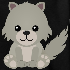 Kawaii Cute Cartoon Wolf Cub - Kids' T-Shirt
