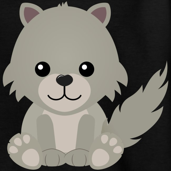 Artform Designs Kawaii Cute Wolf Cub Cartoon Kids T Shirt