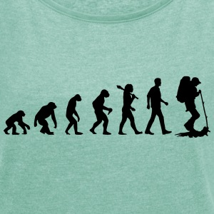 Evolution Of Travelling T-Shirts - Frauen T-Shirt mit gerollten Ärmeln