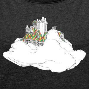 cloud house - Women's T-shirt with rolled up sleeves