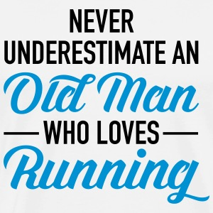 Never Underestimate An Old Man Who Loves Running Magliette - Maglietta Premium da uomo
