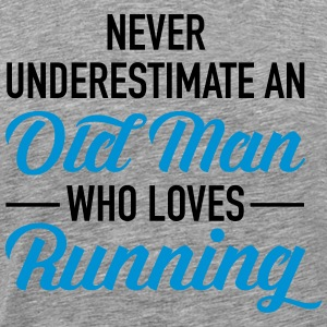Never Underestimate An Old Man Who Loves Running T-Shirts - Men's Premium T-Shirt