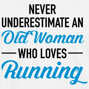 Never Underestimate An Old Woman Who Loves Running T-Shirts - Men's Premium T-Shirt