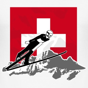Skispringen - Skijumping - Swiss Flag T-Shirts - Männer Slim Fit T-Shirt