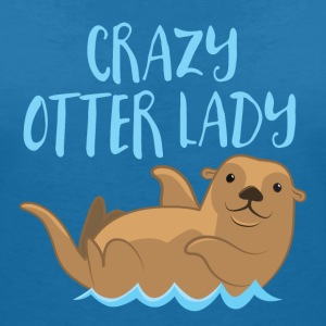 crazy otter lady T-Shirts - Women's V-Neck T-Shirt