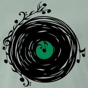 Vinyl disc, music notes, bass, musik, bass, retro T-shirts - Herre premium T-shirt