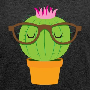 Cute nerdy little cactus T-Shirts - Women's T-shirt with rolled up sleeves
