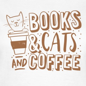 Wit books cats and coffee T-shirts - Vrouwen T-shirt