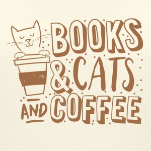 Naturvit books cats and coffee T-shirts - T-shirt med v-ringning dam