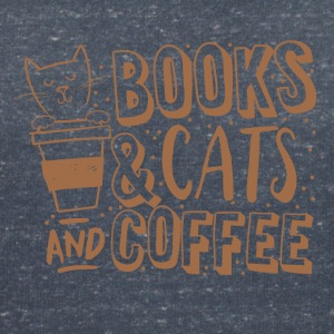 Bianco naturale books cats and coffee Magliette - Maglietta da donna scollo a V
