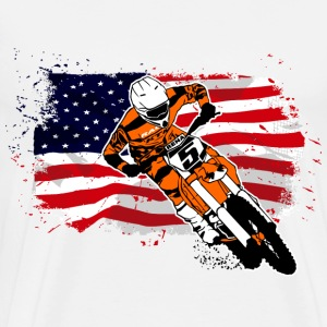 Moto Cross Racing - USA Flag Tee shirts - T-shirt Premium Homme