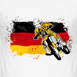 Moto Cross Racing - German Flag T-Shirts - Men's Slim Fit T-Shirt