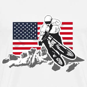 Downhill Moutainbiking - Mountains & USA Flag T-Shirts - Männer Premium T-Shirt