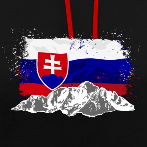 Slovakia - Mountains & Flag Pullover & Hoodies - Kontrast-Hoodie
